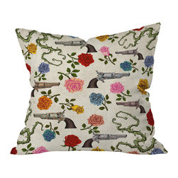 DENY Designs - Belle13 Sweet Guns And Roses Outdoor Throw Pillow, 16x16x4 - Do you hear that noise? It's your outdoor area begging for a facelift and what better way to turn up the chic than with our outdoor throw pillow collection? Made from water and mildew proof woven polyester, our indoor/outdoor throw pillow is the perfect way to add some vibrance and character to your boring outdoor furniture while giving the rain a run for It's money.