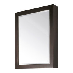 Avanity - Avanity Modero 28 In. Mirror Cabinet Espresso - The Modero 28 in. poplar wood framed mirror cabinet features an espresso finish with simple clean design. Two glass shelves are included for easy storage.  It matches the Modero vanities for a coordinated look and includes mounting hardware for easy installation. Beveled mirror