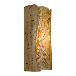 A19 - Lava Wall Sconce Sandstorm and Multi Amber - The combination of glossy glazed ceramic and flowing bits of glass creates a visual explosion of color and vibrancy unlike any other. Light shines through openings at the top and bottom openings of the cylindrical wall sconce and illuminates the texture of the lava-like surface of the fused-glass.