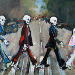 "Abbey Road (Original) by Sharon Sieben - This whimsical piece depicts the Beatles Crossing Abbey Road from the ""Skeletons Celebrating Life collection.(loosely based on the Mexican Holiday, Dia de Los Muertos).  Sides are painted and it is wired for hanging without a frame."