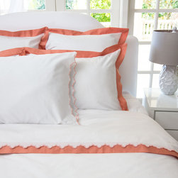 Crane & Canopy - Linden Coral Border Sham - Euro - The luxury is in the details, especially when inspired by the classic bedding found in the finest luxury hotels around the world. Woven from luxurious 400-thread count,�single ply, 100% cotton�with tailored gray borders, this irresistibly soft and beautiful duvet lends elegance�toany room.