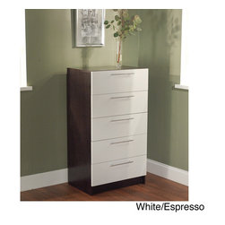 Simple Living - Simple Living Five Drawer Chest - This Five Drawer Chest will add a level of sophistication to any bedroom. This chest features a white/espresso finish.