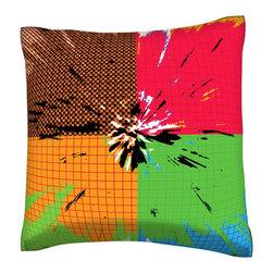 Custom Photo Factory - Color Splotches Pillow.  Polyester Velour Throw Pillow - Color Splotches Pillow. 18 Inches x 18  Inches.  Made in Los Angeles, CA, Set includes: One (1) pillow. Pattern: Full color dye sublimation art print. Cover closure: Concealed zipper. Cover materials: 100-percent polyester velour. Fill materials: Non-allergenic 100-percent polyester. Pillow shape: Square. Dimensions: 18.45 inches wide x 18.45 inches long. Care instructions: Machine washable
