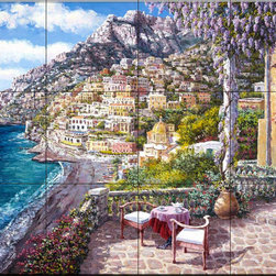 The Tile Mural Store (USA) - Tile Mural - Positano Patio - Kitchen Backsplash Ideas - This beautiful artwork by Sam Park has been digitally reproduced for tiles and depicts a tuscan restaurant patio scene  Waterview tile murals are great as part of your kitchen backsplash tile project or your tub and shower surround bathroom tile project. Water view images on tiles such as tiles with beach scenes and Mediterranean scenes on tiles Tuscan tile scenes add a unique element to your tiling project and are a great kitchen backsplash idea. Use one or two of our landscape tile murals for a wall tile project in any room in your home for your wall tile project.