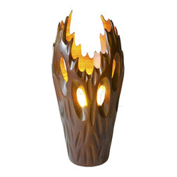 Foreign Affais Home Decor - Table Lamp FLAME, Brown - Table Lamp FLAME is aptly names - handcarved from Mango wood in the shape of a flame. Brown.