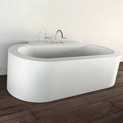 Makro - Makro | Look Plus Corian Bathtub - Made in Italy by Makro.The circular Look Plus Corian Bathtub combines fluid design and premium materials. The wall-incorporated design offers a ledge that can house a deck-mounted faucet or bathing toiletries. The crisp white color is resistant to stains and discoloration, allowing it to hold its clean appearance for years to come. Product Features:
