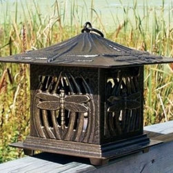 Whitehall Products LLC - Dragonfly Tea Lantern - French Bronze - • Color: French Bronze