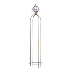 H Potter - H Potter Garden Pillar - Whether it's placed in your garden just as a sculptural piece or as a trellis, this elegant pillar fits in nicely. The open orb and finial at the top complete its regal look.