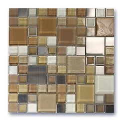 Glass with Metal Tiles ideas from Ocean Mosaics Manufacturer of Glass Tiles - Glass with Metal Tiles - A timeless medley of colored, frosted, and textured glass squares, complimented by interlaid accents of marble and metal. Traditional with a hint of contemporary.