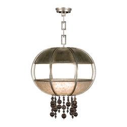 Fine Art Lamps - Fine Art Lamps 600240-2ST Singapore Moderne Silver Leaf Pendant - 8 Bulbs, Bulb Type: 60 Watt Candelabra; Weight: 46lbs