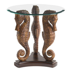 Tommy Bahama Home - Tommy Bahama Sea Horse Lamp Table in Rich Tobacco Finish - Tommy Bahama Home Landara Sea Horse Lamp Table in Rich Tobacco Finish 01-0545-951