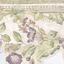 York Wallcoverings - Green Cream Stone Purple Floral Wallpaper Border - Wallpaper borders bring color, character and detail to a room with exciting new look for your walls - easier and quicker then ever.