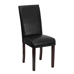 Flash Furniture - Flash Furniture Black Leather Upholstered Parsons Chair - This leather Parsons Chair will add contemporary sophistication to your dining room or living room. This chair can be used as an accent chair around the home when giving your home a more decorative appeal. The European designed side chair features black leather upholstery, while the frame and legs are constructed of solid wood.
