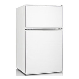 Keystone - 3.1 Cu. Ft. Refrigerator With Separate Freezer - The Keystone KSTRC312CW Energy Star 3.1 Cu. Ft. Compact 2-Door Refrigerator/Freezer, in white, is perfect for dorm rooms, rec rooms, small offices or anywhere space is limited. It has a separate top-mount freezer with manual defrost and storage on the freezer door. The refrigerator has an interior light, mechanical temperature control, 2 shelves and a fruit 'n veggie crisper drawer. The refrigerator door has storage for canned beverages and a 2-liter bottle plus a small-item rack perfect for storing single-serve yogurt. The reversible door and adjustable legs will make sure it fits perfectly just where you need it.Energy Star 3.1 cu. Ft. Compact 2-door refrigerator/freezer