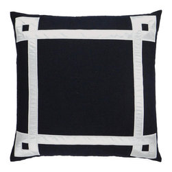 """NECTARmodern - Applique Ribbon (black) embroidered throw pillow 20"""" x 20"""" - Always chic black and white takes on new charm. An applique of satin ribbon gives this pillow its nifty graphic element — perfect for your favorite setting."""