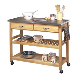 Shop stainless steel commercial kitchen islands carts on houzz Home styles natural designer utility cart