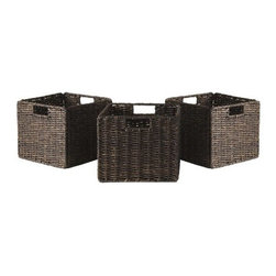 Winsome Wood - Granville 3 Piece Small Corn Husk Foldable Baskets - Store and organize everyday necessities in our Granville utility storage baskets. These dark brown foldable baskets are available in a set of three.