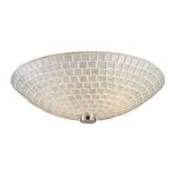 ELK Lighting - Two Light Satin Nickel Silver Mosaic Glass Bowl Flush Mount - Two Light Satin Nickel Silver Mosaic Glass Bowl Flush Mount