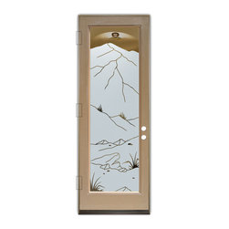 Sans Soucie Art Glass (door frame material Plastpro) - Glass Front Entry Door Sans Soucie Art Glass Mountains Foliage - Sans Soucie Art Glass Front Door with Sandblast Etched Glass Design. Get the privacy you need without blocking light, thru beautiful works of etched glass art by Sans Soucie!This glass is semi-private. Door material will be unfinished, ready for paint or stain.Bronze Sill, Sweep.Satin Nickel Hinges. Available in other finishes, sizes, swing directions and door materials.Dual Pane Tempered Safety Glass.Cleaning is the same as regular clear glass. Use glass cleaner and a soft cloth.