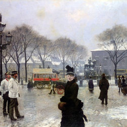 "Paul-Gustave Fischer A Winter's Day on Kongens Nytorv Print - 18"" x 24"" Paul-Gustave Fischer A Winter's Day on Kongens Nytorv Copenhagen premium archival print reproduced to meet museum quality standards. Our museum quality archival prints are produced using high-precision print technology for a more accurate reproduction printed on high quality, heavyweight matte presentation paper with fade-resistant, archival inks. Our progressive business model allows us to offer works of art to you at the best wholesale pricing, significantly less than art gallery prices, affordable to all. This line of artwork is produced with extra white border space (if you choose to have it framed, for your framer to work with to frame properly or utilize a larger mat and/or frame).  We present a comprehensive collection of exceptional art reproductions byPaul-Gustave Fischer."