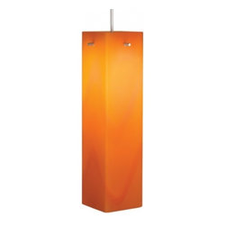 "Bruck Lighting - Houston Pendant Light with Orange Glass (Bronze No Canopy) - Finish: Bronze No Canopy. Pictured in Matte Chrome. Glass Color: Orange Glass. Mounting: No Canopy. 12V AC/DC Input. Accommodates 50W Max 12V Halogen GY6.35 Lamp (Not included). Suitable for dry location only. Dimmable . Overall Dimensions: 12"" H x 3.1"" DThe Houston collection is handcrafted by Murano glass masters featuring a contemporary square shape. The vivid colors offered include red, orange, vanilla and white. The uni-plug design allows the Houston pendant to be mounted on any of Bruck's track systems or ceiling canopy through the use of an appropriate adaptor. A Standard cable length of 59"" can be field-cut."