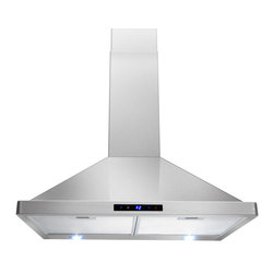 "AKDY - AKDY AK-Z63175S Stainless Steel Wall Mount Range Hood (For Canada Buyer), 30"" - AKDY decorative 631 combines heavy gauge stainless steel to create a light and airy environment, this will be a perfect centerpiece for any contemporary kitchen. This gently flowing design is powered by a 760 CFM blower that can handle the demands of any modern kitchen. The high-tech electronic controls manages the lighting and blower speeds."