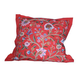 Crewel Fabric World - Crewel Pillow Euro Sham Tree of Life Exotic Red Cotton Duck - Artisans in a remote mountain village in Kashmir crewel stitch these blossoms, vines and leaves by hand, resulting in a lush pattern of richly shaded wool yarns on Linen, Cotton, Velvet, Silk Organza, Jute. Also backed in natural linen, Cotton, Velvet Silk Organza, Jute with a hidden zipper.