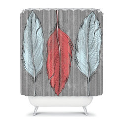 DENY Designs - DENY Designs Wesley Bird Feathers Shower Curtain Multicolor - 13531-SHOCUR - Shop for Shower Curtains from Hayneedle.com! The DENY Designs Wesley Bird Feathers Shower Curtain isn't just for the birds. With a fun and feathery designer print and a great use of color this shower curtain is sure to turn some heads. So get all sudsy in style and forget those drab shower curtains for good.About DENY DesignsDenver Colorado based DENY Designs is a modern home furnishings company that believes in doing things differently. DENY encourages customers to make a personal statement with personal images or by selecting from the extensive gallery. The coolest part is that each purchase gives the super talented artists part of the proceeds. That allows DENY to support art communities all over the world while also spreading the creative love! Each DENY piece is custom created as it's ordered instead of being held in a warehouse. A dye printing process is used to ensure colorfastness and durability that make these true heirloom pieces. From custom furniture pieces to textiles everything made is unique and distinctively DENY.