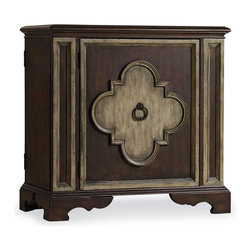 Hooker Furniture - One Door Chest - White glove, in-home delivery included!  This enchanting chest features a center door with one adjustable wood shelf, and right side facing and left side facing touch latch doors with adjustable storage shelf.
