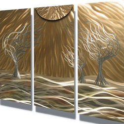 "Miles Shay - Metal Art Wall Art Decor Abstract Contemporary Modern Sculpture- 3 Trees 36"" - This Abstract Metal Wall Art & Sculpture captures the interplay of the highlights and shadows and creates a new three dimensional sense of movement as your view it from different angles."