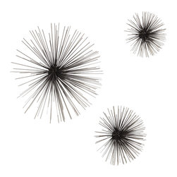 Global Views - Boom Wall Sculpture - Nickel - Small - Inspired by Mid Century antiques, the boom sculptures are individual so they can be hung in many configurations. Iron with nickel tipped stems, these attach to the wall with a flat bracket. Each size sold separately.