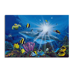 "READY2HANGART.COM - Ready2hangart David Dunleavy 'Ocean Friends' Canvas Wall Art, 30"" X 40"" Inch - This beautiful canvas wall art brought to you by Ready2hangart from renowned artist David Dunleavy exemplifies his passion for marine life while translating it to detailed underwater paintings.  It is fully finished, arriving ready to hang on the wall of your choice."