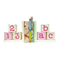 ABC 123 Pink Bookends - Our ABC, 123 pink and green wooden bookends are perfect for any child's room or baby nursery. All of our children's bookends are handcrafted, hand painted and heavy enough to hold your child's favorite books.