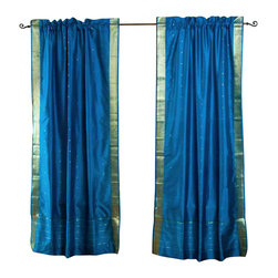 Indian Selections - Pair of Turquoise Rod Pocket Sheer Sari Curtains, 80 X 96 In. - Size of each curtain: 80 Inches wide X 96 Inches drop. Sizing Note: The curtain has a seam in the middle to allow for the wider length