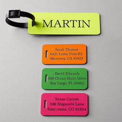 """Horchow - Personalized Luggage Tags - Make baggage claim a breeze with these vibrant eye-catching plastic tags. Each is personalized in the typestyle shown and includes an easy-to-attach black plastic strap. Select color when ordering. Large tag, 1.75"""" x 5"""". Personalization is name up to..."""