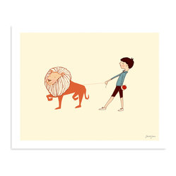 "Sarah Jane Studios - Take Me For A Walk, 11""x14"" - Inspired by 1950s-style picture book drawings, Sarah Jane's illustrations have an irresistible innocence to them. You'll love this one for its clean, simple style and friendly view of the world. The boy's pet lion is not only charming, but a great excuse to incorporate some orange into your room."