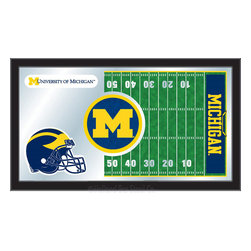 """Holland Bar Stool - Holland Bar Stool Michigan Football Mirror - Michigan Football Mirror belongs to College Collection by Holland Bar Stool The perfect way to show your school pride, our Football Mirror displays your school's symbols with a style that fits any setting.  With it's simple but elegant design, colors burst through the 1/8"""" thick glass and are highlighted by the mirrored accents.  Framed with a black, 1 1/4 wrapped wood frame with saw tooth hangers, this 15""""(H) x 26""""(W) mirror is ideal for your office, garage, or any room of the house.  Whether purchasing as a gift for a recent grad, sports superfan, or for yourself, you can take satisfaction knowing you're buying a mirror that is proudly Made in the USA by Holland Bar Stool Company, Holland, MI.   Mirror (1)"""
