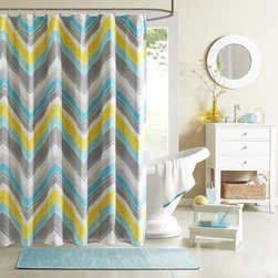 ID-Intelligent Designs - Intelligent Design Ariel Shower Curtain - The Intelligent Design Ariel Shower Curtain provides a modern update for the stylish customer. Its updated chevron design uses two shades of blue along with a pop of yellow and grey to update your space instantly.