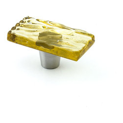 "Windborne Studios - Glazed Wave Glass Knobs and Pulls, Citrine, 1"" X 2"" - The Glazed Wave Collection was inspired from the waves of Lake Michigan."