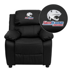 "Flash Furniture - South Alabama Jaguars Embroidered Black Leather Kids Recliner with Storage Arms - Get young kids in the college spirit with this embroidered college recliner. Kids will now be able to enjoy the comfort that adults experience with a comfortable recliner that was made just for them! This chair features a strong wood frame with soft foam and then enveloped in durable leather upholstery for your active child. This petite sized recliner features storage arms so kids can store items away and retrieve at their convenience. University of South Alabama Embroidered Kids Recliner; Embroidered Applique on Headrest; Overstuffed Padding for Comfort; Easy to Clean Upholstery with Damp Cloth; Flip-Up Storage Arms; Storage Arm Size: 3.25""W x 6""D x 11""H; Solid Hardwood Frame; Raised Black Plastic Feet; Intended use for Children Ages 3-9; 90 lb. Weight Limit; Black LeatherSoft Upholstery; LeatherSoft is leather and polyurethane for added Softness and Durability; CA117 Fire Retardant Foam; Safety Feature: Will not recline unless child is in seated position and pulls ottoman 1"" out and then reclines; Overall dimensions: 25""W x 26"" - 39""D x 28""H"