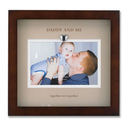 "Lawrence Frames - Brown Wood Picture Frame With Beige Mat- Daddy And Me Design - Finely made walnut wood shadow box frame includes a beautifully printed beige double bevel cut mat with ""Daddy and me...together we're perfect"" printed in brown. Includes a silver metal heart attached to the top of the mat inside frame. This item comes individually boxed. Includes sturdy black wood easel backing for tabletop display, and hangers for wall mounting."