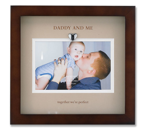 """Lawrence Frames - Brown Wood Picture Frame With Beige Mat- Daddy And Me Design - Finely made walnut wood shadow box frame includes a beautifully printed beige double bevel cut mat with """"Daddy and me...together we're perfect"""" printed in brown. Includes a silver metal heart attached to the top of the mat inside frame. This item comes individually boxed. Includes sturdy black wood easel backing for tabletop display, and hangers for wall mounting."""