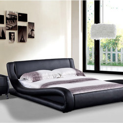 Dona Black Faux Leather Modern Bed -