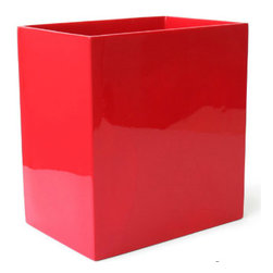 Lacquer Wastebasket - The bathroom is no place to skimp on fabulous design. The shine of lacquer is perfect for the bath, and a punch of color makes it more fun.