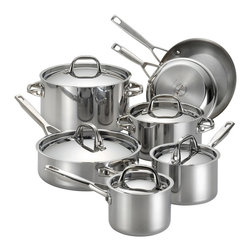 Anolon - Anolon Tri-Ply Clad Stainless Steel 12-piece Cookware Set - With the professional-quality performance of the Anolon Tri-Ply Clad Stainless Steel 12-piece Cookware Set,make the most of fresh seasonal ingredients in a variety of dishes.