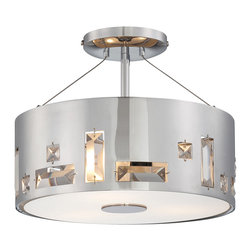 George Kovacs - Bling Bang Ceiling Semi Flush Mount - Bling Bang ceiling semi-flush mount features a perforated steel shade with crystals and an inner etched glass diffuser. Finish available in chrome or chocolate chrome. Chrome finish features clear crystals; chocolate chrome features teak crystals. Available in a wall sconce, ceiling mount, pendant, table lamp, linear suspension and 3 or 4 pendant suspension version. Three 100 watt,120 volt, A19 medium base incandescent lamps not included. General light distribution. 12.25 inch diameter x 9.75 inch height.