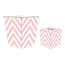 "Marye Kelley - Marye Kelley Pink Chevron Decoupage Wastebasket with Optional Tissue Box, 12"" Fl - This is a handmade decoupage wastebasket with optional tissue box.  All items are handmade in the USA.  There are three different styles available.  There is the 12"" Fluted Tin Design, the 11"" Square Design with a flat top or the 11"" Square design with a scalloped top.  Coordinating tissue boxes may also be made. Please note all items are custom made and may not be returned."