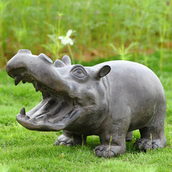 "Hippo Sculpture with Bluetooth Speakers - Exhibiting an engaging hippo wide mouth profile, the big guy looks pleased as punch to be the center of the revelry. Little does he know that he's being ""played"" by the owner of his Blue Tooth speaker. Polystone construction; outdoor safe."