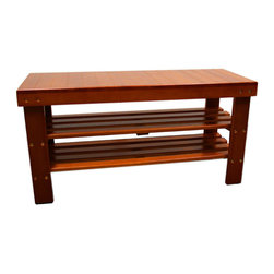 "ORE International - 17.9""H Shoe Organizer Bench - Light Brown - This beautiful wooden shoe bench in walnut finish provides storage for your shoes and boots. A place to sit while putting on your shoes. Decorative furniture bench to match any decor. Solid wood strong construction. Easy to assemble; Sturdy Construction; Accent to any home's decor; 30 Day Warranty; Assembly Required: Yes; Available Color: Light Brown; Materials: Wood; Weight: 15.4 lbs; Distance Between Shelves: 5.5 inches; Distance Between Floor to Bottom Shelf: 5.5 in.; 13""W x 35.4""L x 17.9""H, Top Shelf: 35.4"" x 13"" x 2.5"", Inner Shelves: 34"" x 10"" x 0.5"""