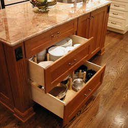 Cabinet details & specialty cabinets - Plate peg storage system.